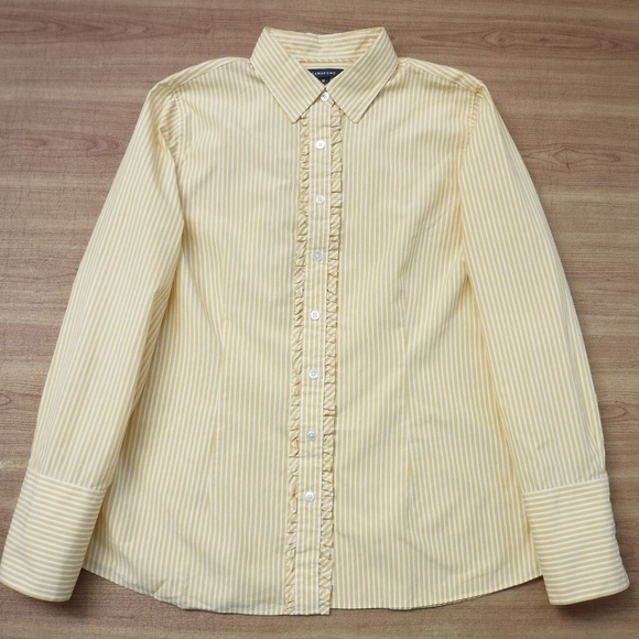 Lands' End Yellow&White Striped Collared Blouse